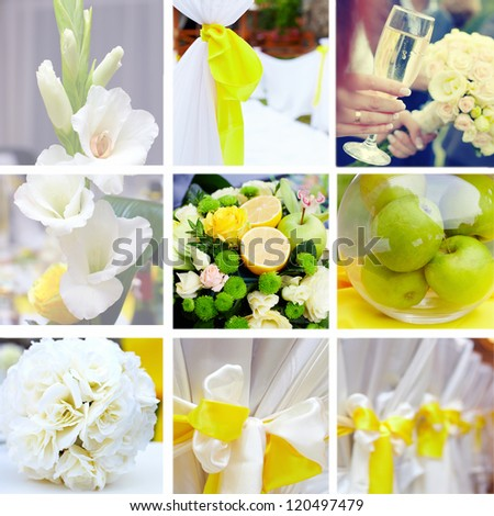 wedding collage in yellow and green color theme