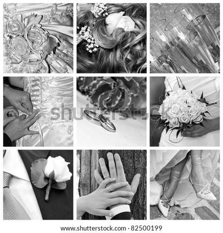 Wedding - collage of photos in black and white