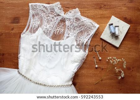 Wedding concept - wedding dress and wedding accessories  #592243553