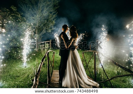Wedding couple are looking to the fireworks Stock photo ©