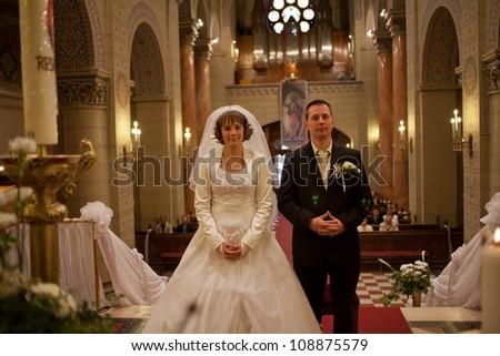 wedding couple in a church