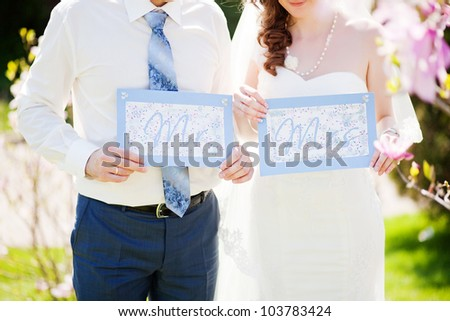 Wedding couple - new family concept - stock photo