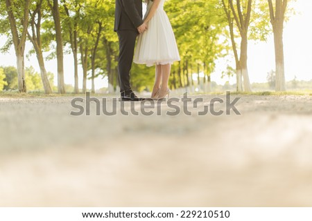 Wedding couple on the country road Stock photo ©