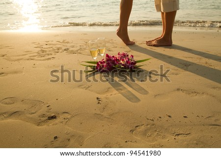 wedding couple on the paradise beach - with place for the text