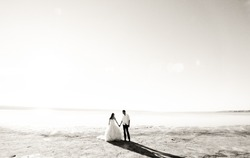 Wedding couple on the sea beach. Sunny summer photo. Bride with hair down in off shoulder dress with train. Ocean romantic ceremony. Seaside love story. Sand, water and horizon. Black and white.