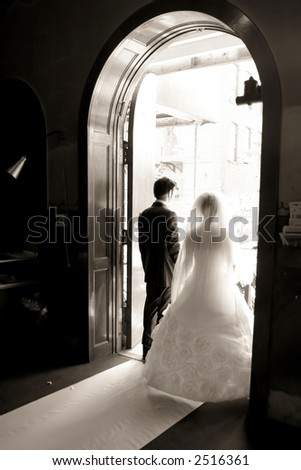 Wedding - couple out of church