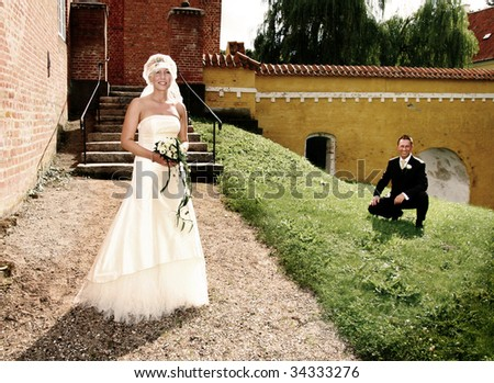 Wedding couple portrait. groom and bride marriage celebration. husband in suit and wife in wedding dress