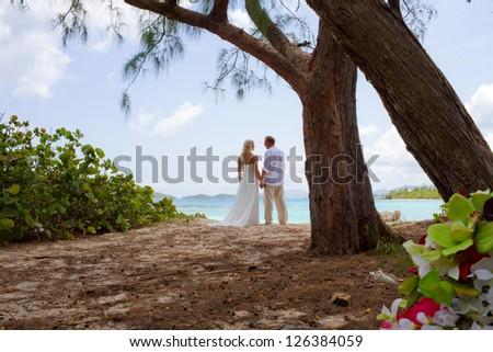 Wedding Couple under Island trees