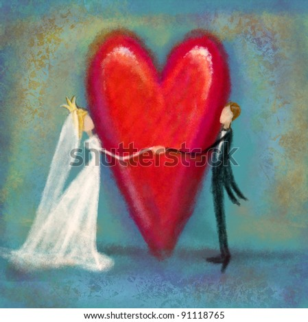 Wedding couple with heart artwork - stock photo