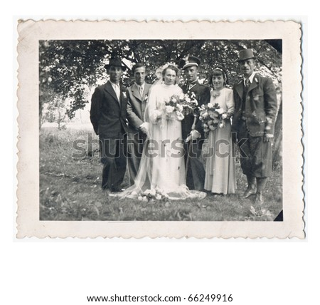 wedding day about 1940, slovakia. German commander and his bride