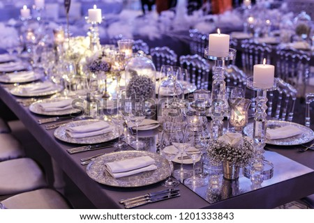 Wedding day event organization table setting decor #1201333843
