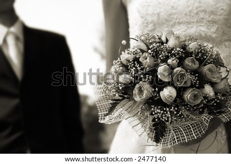 wedding day(special sepia toned film photo f/x,focus point on the flowers)