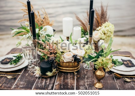 wedding decor, flowers, black and gold decor, candles #502051015