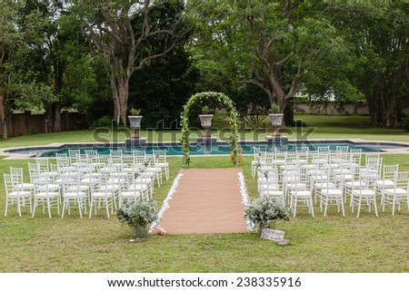 Wedding Decor Home Wedding decor chairs ceremony lawn pool landscape with guests lunch dinner table settings on porch veranda of mansion home.