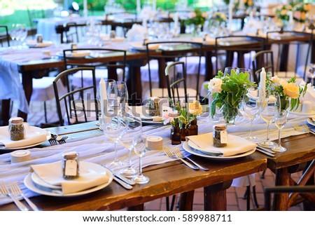 Wedding decor. Wedding interior. Festive decor. Table decor. Table layout. Restaurant interior. #589988711