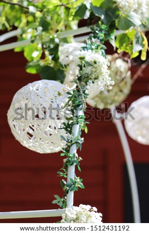 Wedding decoration. Balls decoration. White balloons wedding decoration