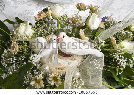 stock photo wedding decoration bouquet with two white doves