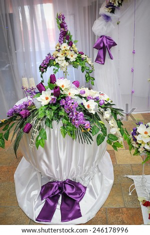 wedding decoration in purple style table with flowers.