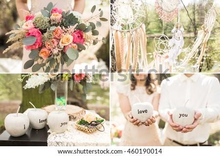 Wedding decoration on boho style: Dream catchers, flowers