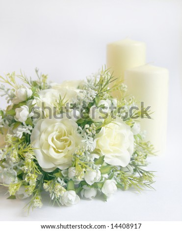 stock photo Wedding decoration with bridal bouquet or floral centerpiece