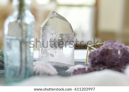 Wedding decoration with ,crystals, pink quartz, amethyst, rock crystal, floristry and serving #611203997