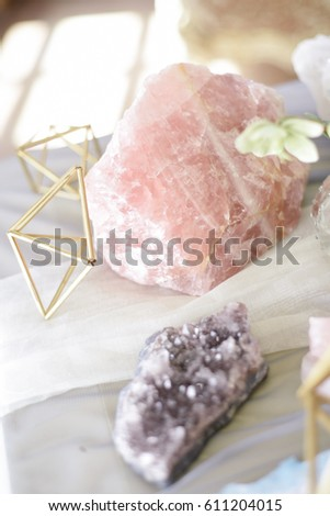 Wedding decoration with ,crystals, pink quartz, amethyst, rock crystal, floristry and serving #611204015