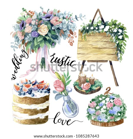Wedding decorations in rustic style. Watercolor illustrations on white background