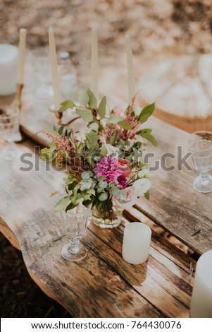 Wedding Decorations On Old Wooden Table Ez Canvas