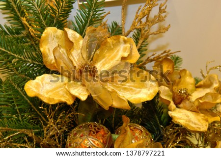 Wedding decorations with evergreen trees on golden satin. Christmass decoration concept
