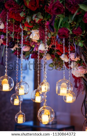 wedding decorations with flowers and candles. banquet decor. picture with soft focus #1130864372