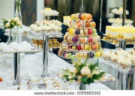 wedding dessert table. making desserts