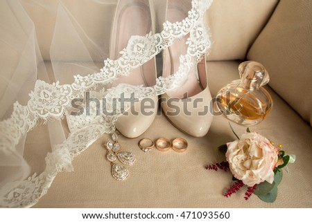 Wedding details. Bouquet and bridal accessories  #471093560