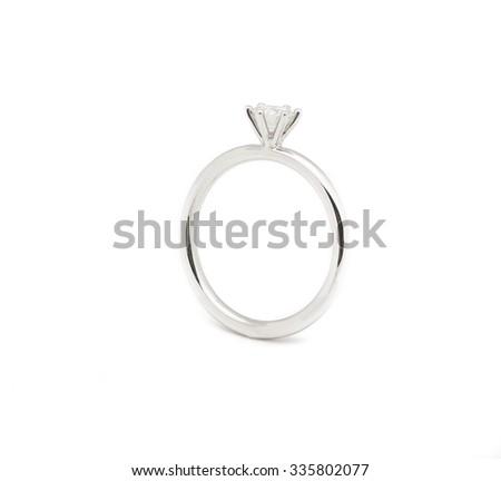 Wedding diamond ring isolated on white background #335802077