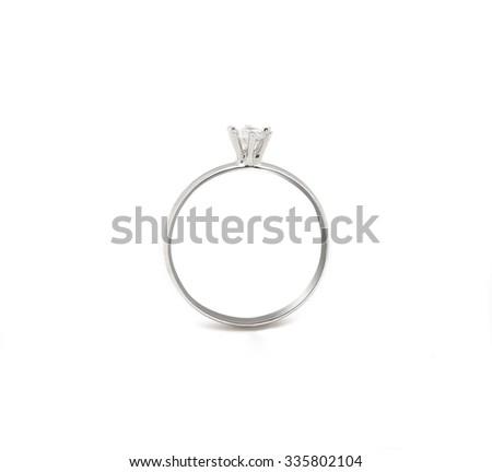 Wedding diamond ring isolated on white background #335802104