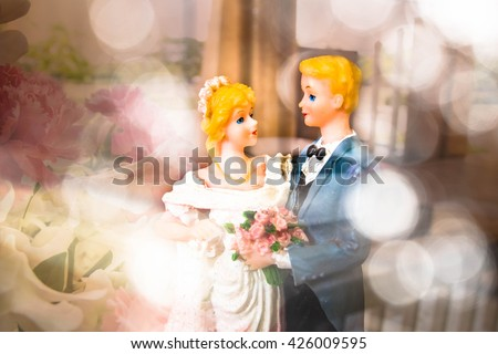 Wedding doll with rose,Love concept,Vintage