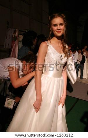 Wedding dress model at Seoul Fashion Week (Seoul Collection) Fall/Winter 2006.  Hwang Jae Bock collection.