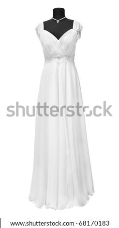 wedding dress on a mannequin on a white background