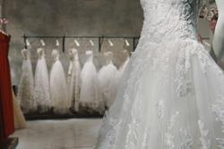 Wedding dresses in a luxury shop in Milan
