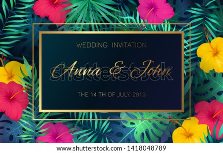 Wedding event invitation card. Poster marriage exotic tropical flowers jungle leaves palm frame decoration invite banner date