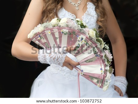 Wedding fan-bouquet decorated with roses