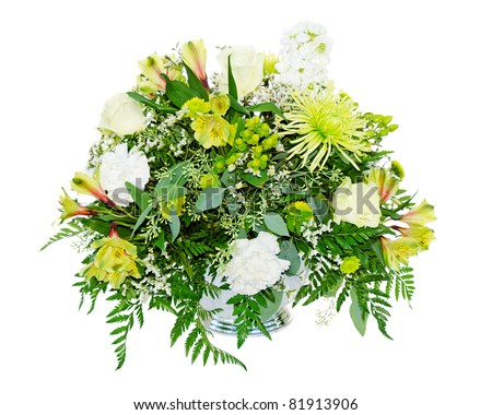 stock photo Wedding flower arrangement centerpiece with lilly rose