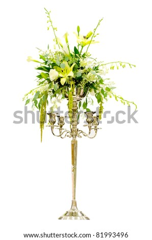 stock photo Wedding flower arrangement centerpiece with orchid rose