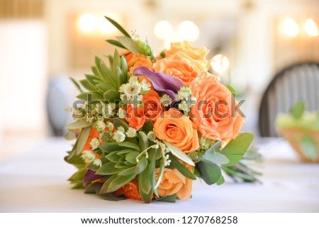 wedding flower bouquet on the table #1270768258