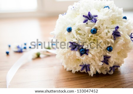 wedding flowers from white and blue orchids