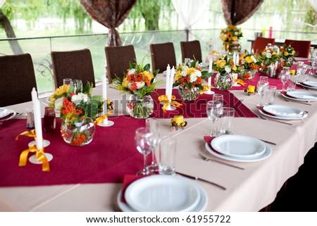 Wedding flowers - tables set for wedding