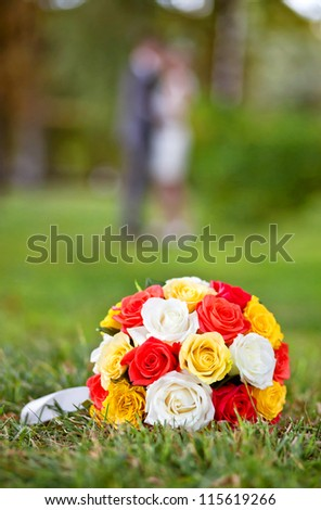 Wedding Flowers Wedding Bouquet Of Yellow And White Roses And Red
