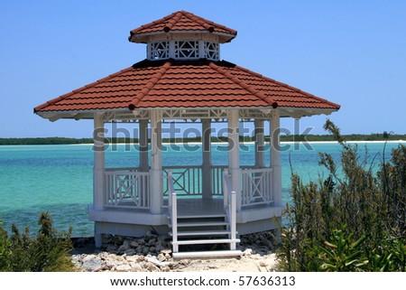 Wedding gazebo on a tropical beach