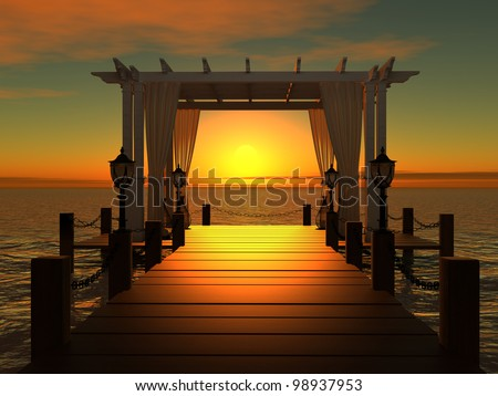 wedding gazebo on the wooden pier into the sea with the sun at sunset - stock photo