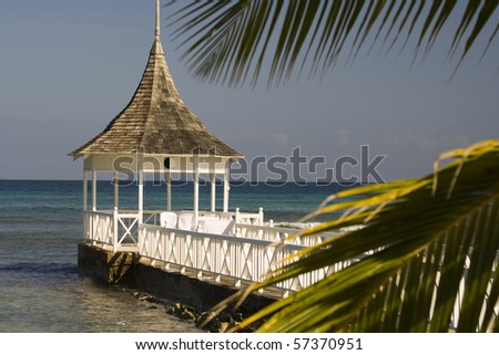 Wedding gazebo with palms at a caribbean beach