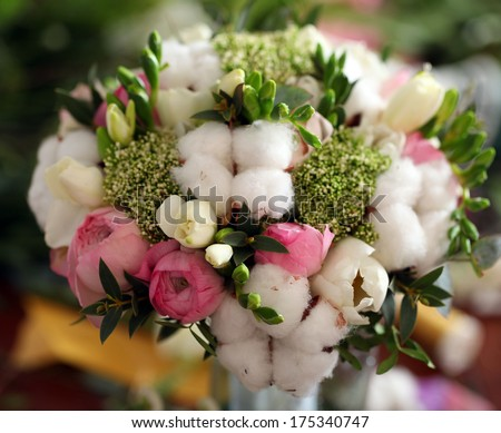wedding gift bouquet of different flowers.fantasy florist flower with cotton